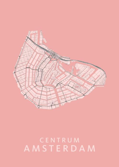Amsterdam Centrum Wijkkaart - Roze