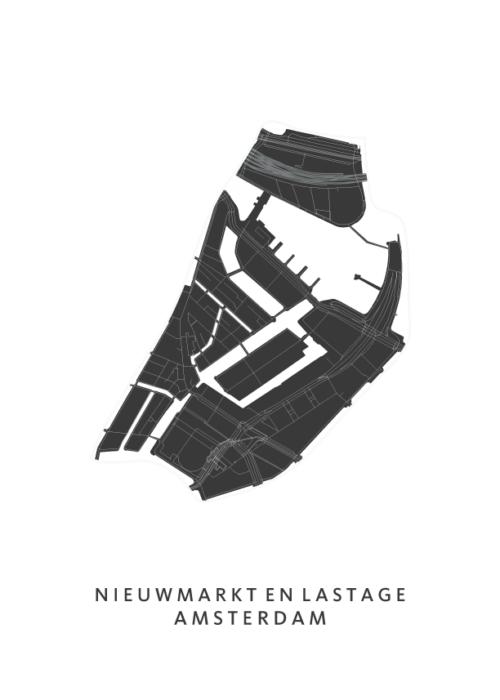 Nieuwmarkt en Lastage Wijkkaart Poster