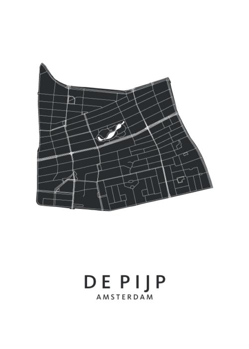 De Pijp wijkkaart Poster