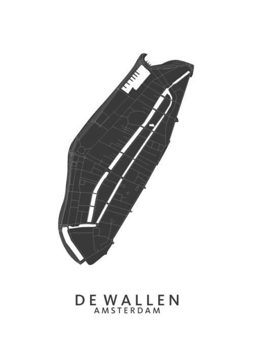 De Wallen Wijkkaart Poster