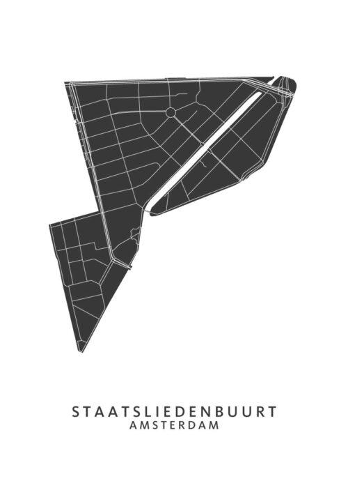 Staatsliedenbuurt Wijkkaart Poster