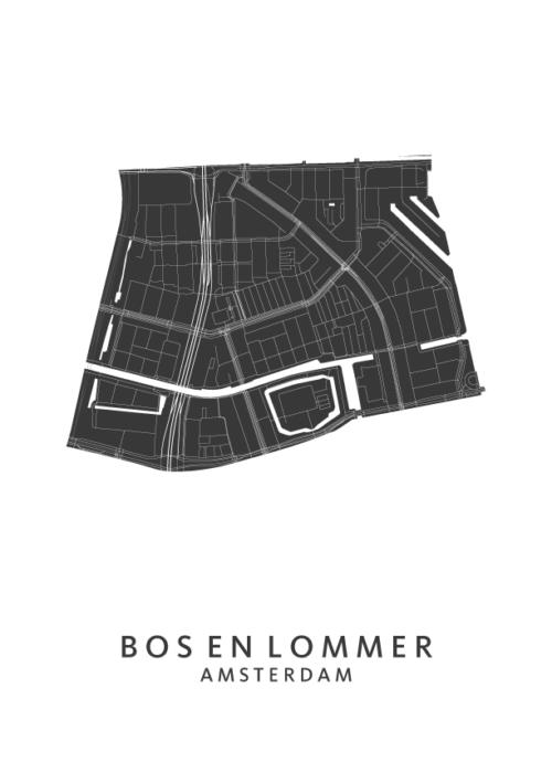 Bos en Lommer wijkkaart Poster