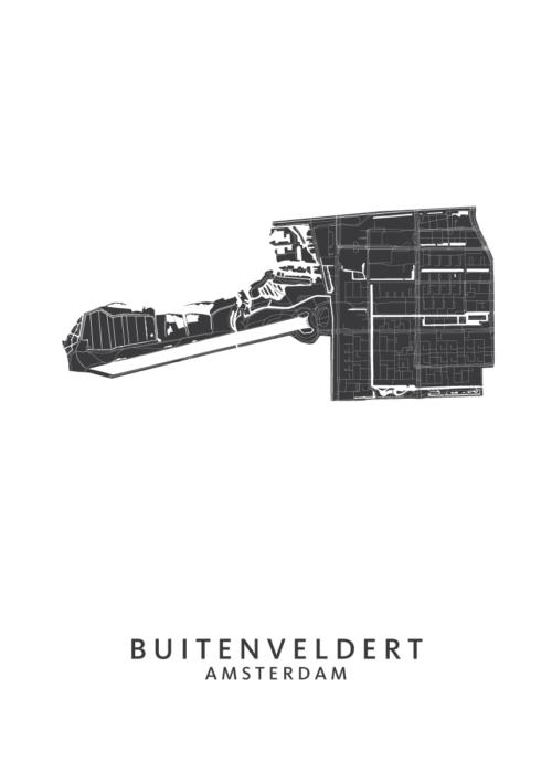 Amsterdam - Buitenveldert Wijkkaart - White