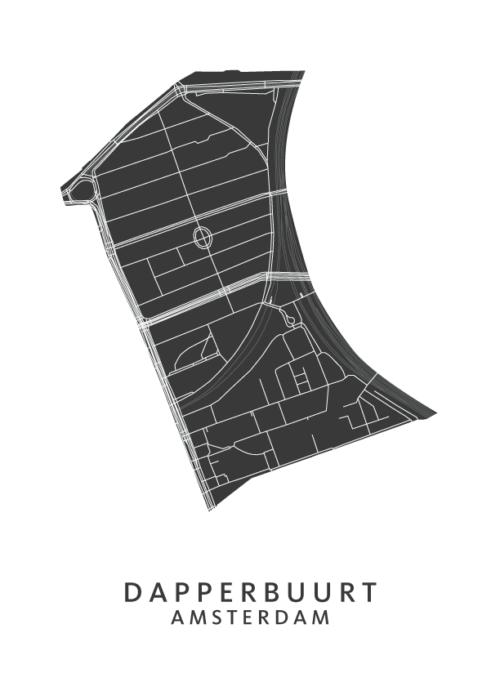 Dapperbuurt wijkkaart Poster