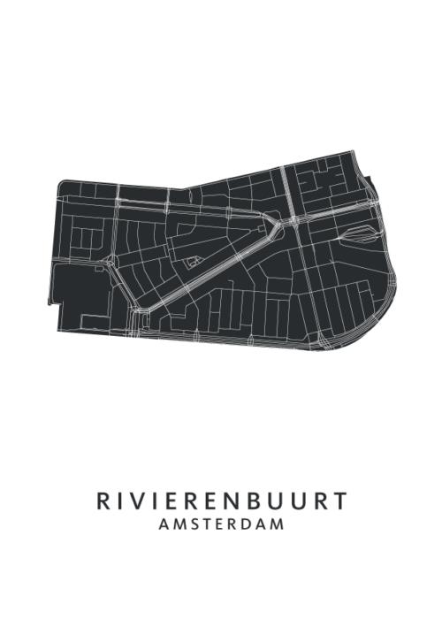Rivierenbuurt Wijkkaart Poster