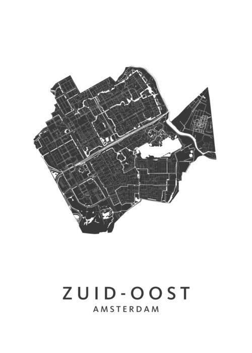 Amsterdam Zuid-Oost wijkkaart poster