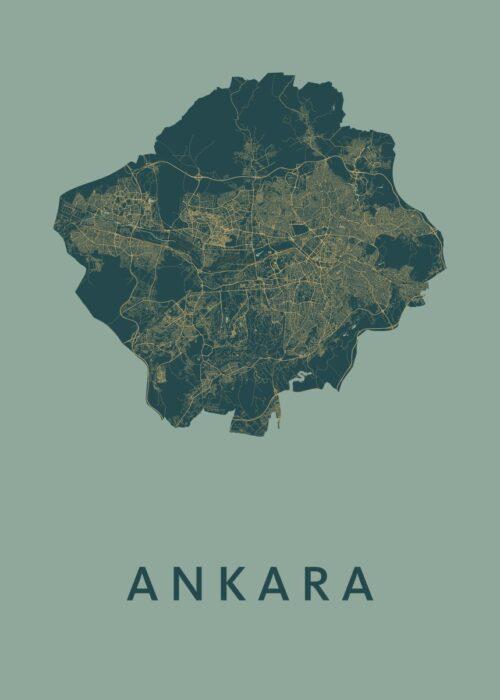 Ankara Amazon Stadskaart Poster | Kunst in Kaart