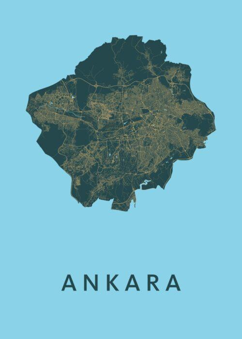 Ankara Azure Stadskaart Poster | Kunst in Kaart