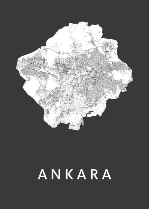 Ankara Black Stadskaart Poster | Kunst in Kaart