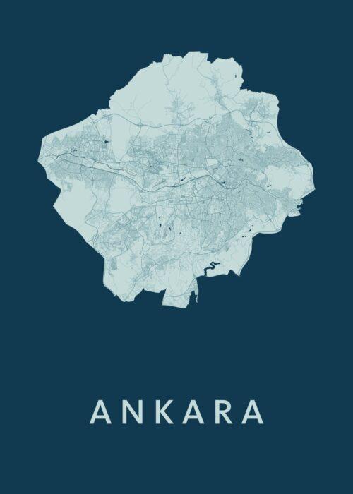 Ankara Feldgrau Stadskaart Poster | Kunst in Kaart
