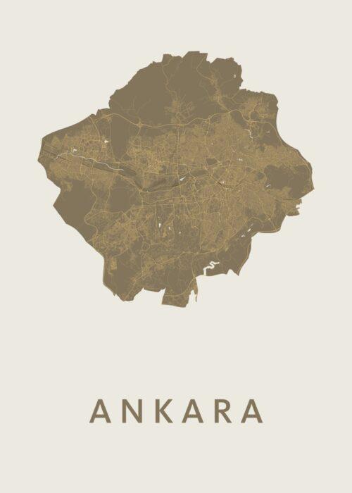 Ankara Gold Stadskaart Poster | Kunst in Kaart