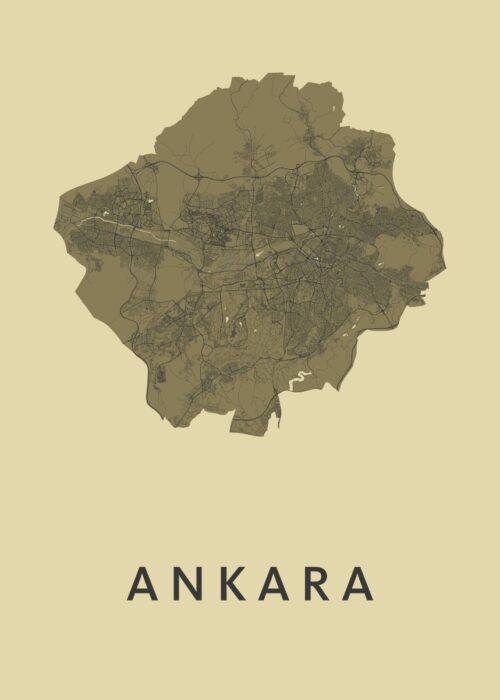 Ankara GoldenRod Stadskaart Poster | Kunst in Kaart