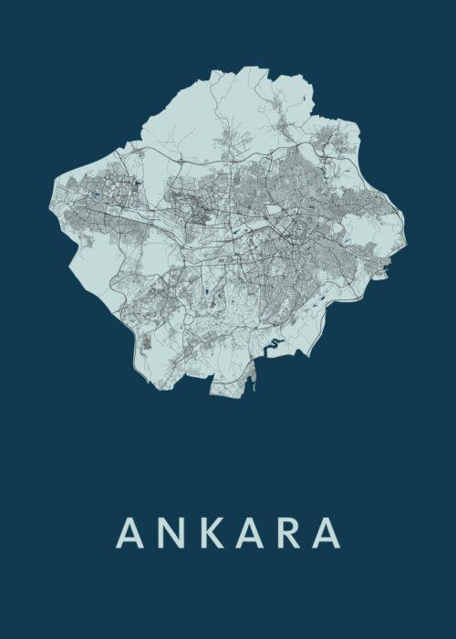 Ankara Navy Stadskaart Poster | Kunst in Kaart