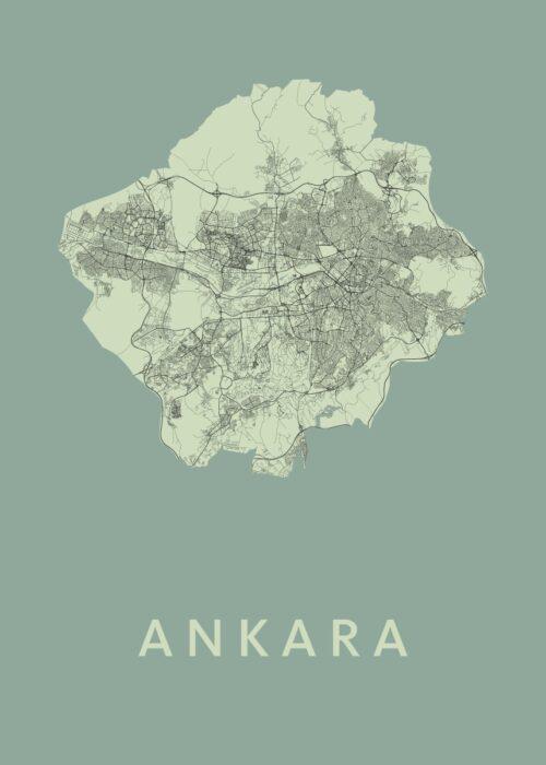 Ankara Olive Stadskaart Poster | Kunst in Kaart
