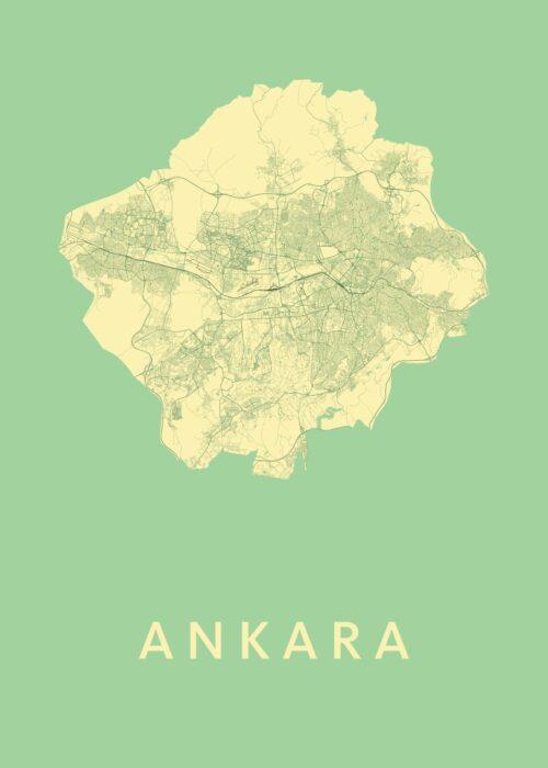 Ankara Spring Stadskaart Poster | Kunst in Kaart