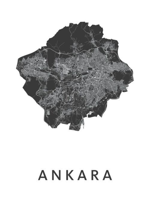 Ankara White Stadskaart Poster | Kunst in Kaart