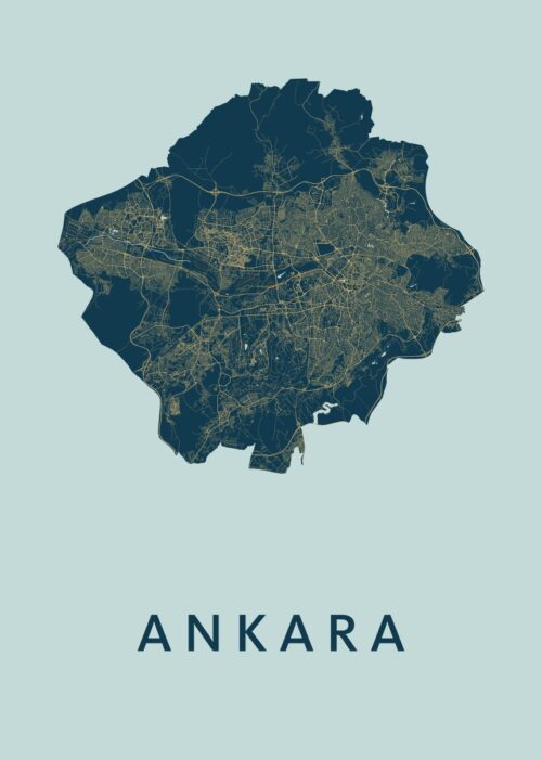 Ankara Prussian Stadskaart Poster | Kunst in Kaart