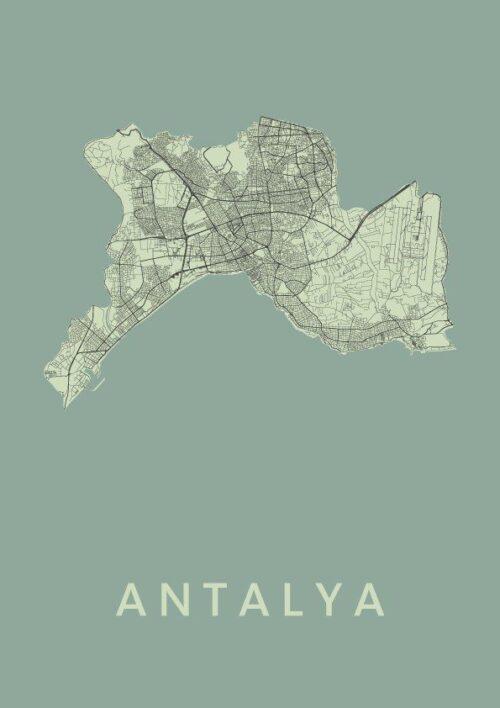 Antalya Olive Stadskaart Poster | Kunst in Kaart