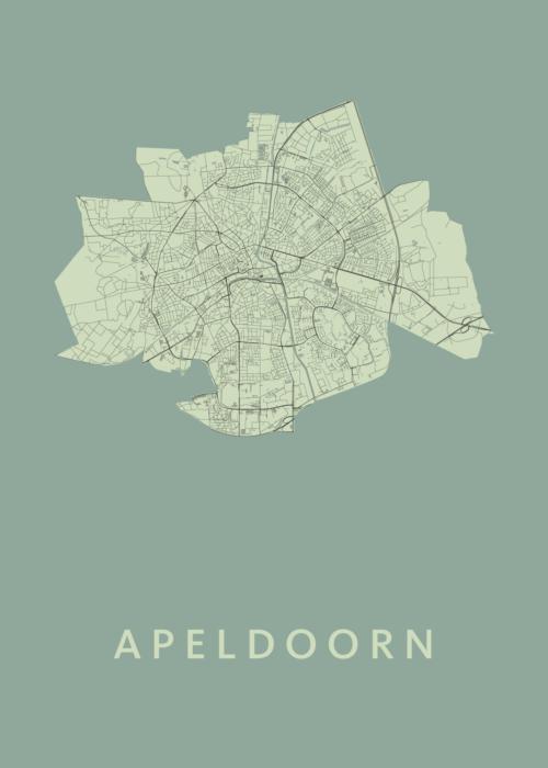 Apeldoorn Stadskaart Poster Olive