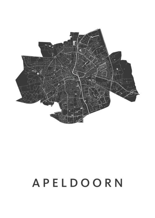 Apeldoorn Stadskaart Poster White