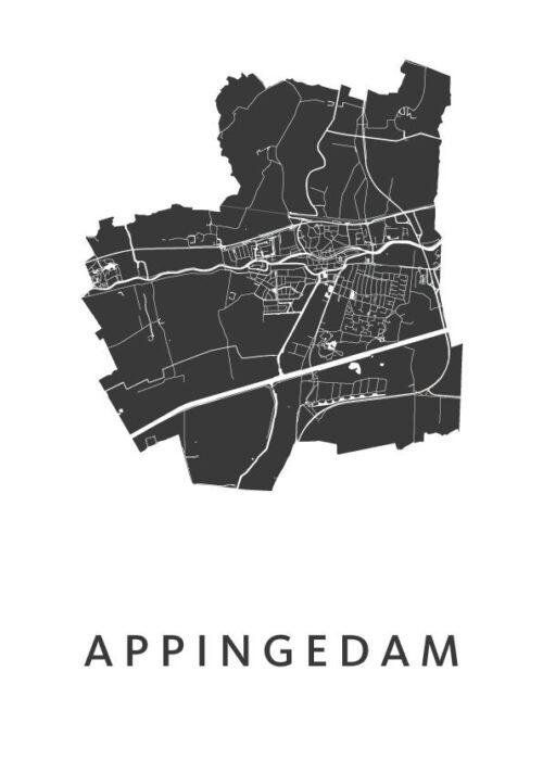 Appingedam White Stadskaart Poster | Kunst in Kaart