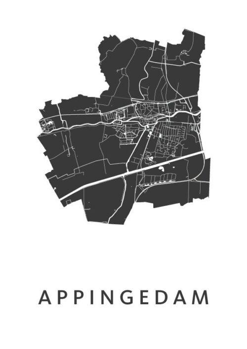 Appingedam White Stadskaart Poster   Kunst in Kaart