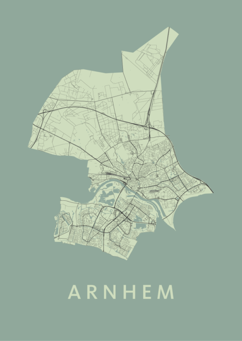 Arnhem Olive Stadskaart poster   Kunst in Kaart