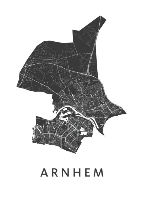 Arnhem White Stadskaart poster | Kunst in Kaart
