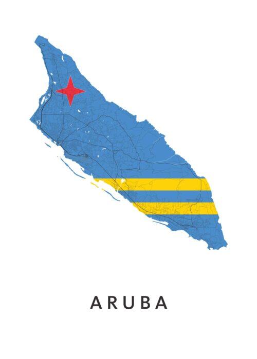 Aruba Landkaart - Landvlag - Poster