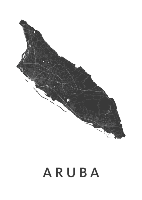 Aruba Country Map stadskaart poster