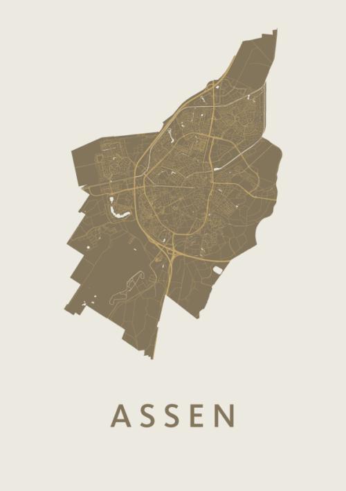 Assen Gold stadskaart poster