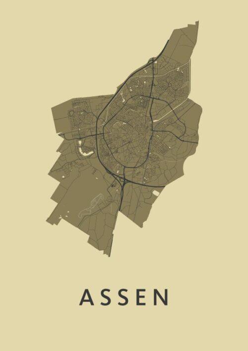 Assen GoldenRod Stadskaart Poster | Kunst in Kaart