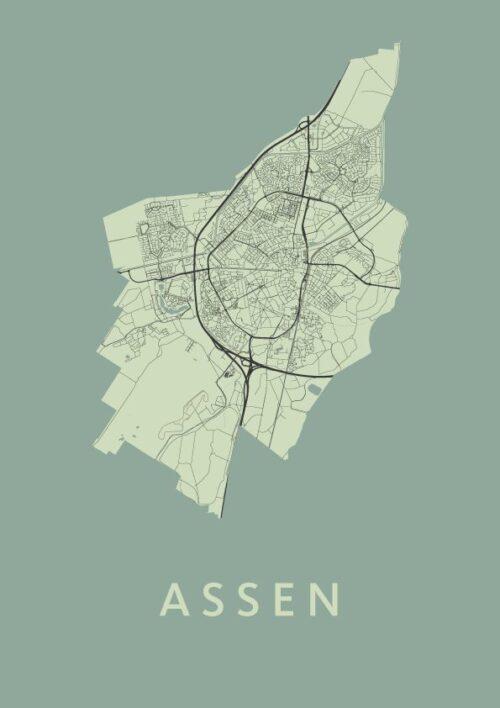 Assen Olive Stadskaart Poster | Kunst in Kaart