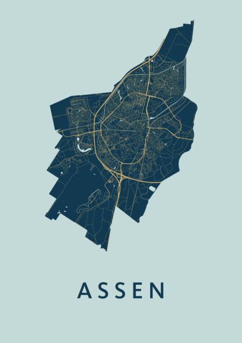 Assen Prussian stadskaart poster