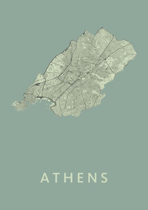 Athens Olive Stadskaart Poster | Kunst in Kaart