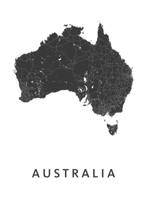 Australia Country Map stadskaart poster