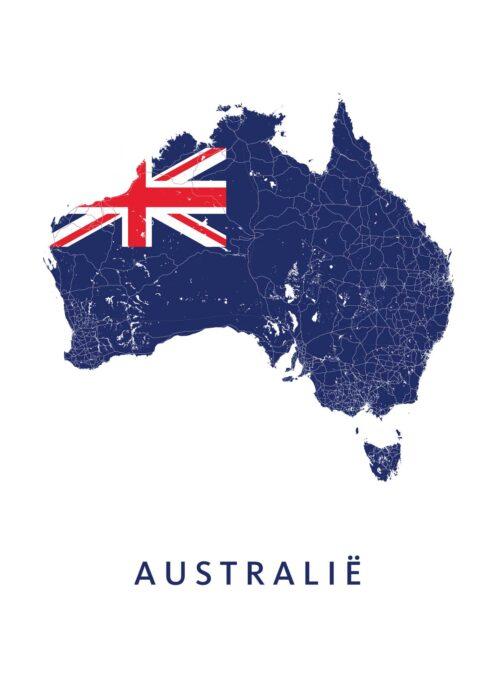 Australië Landkaart - Landvlag - Poster
