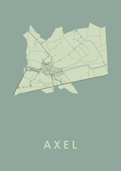 Axel Olive Stadskaart Poster   Kunst in Kaart