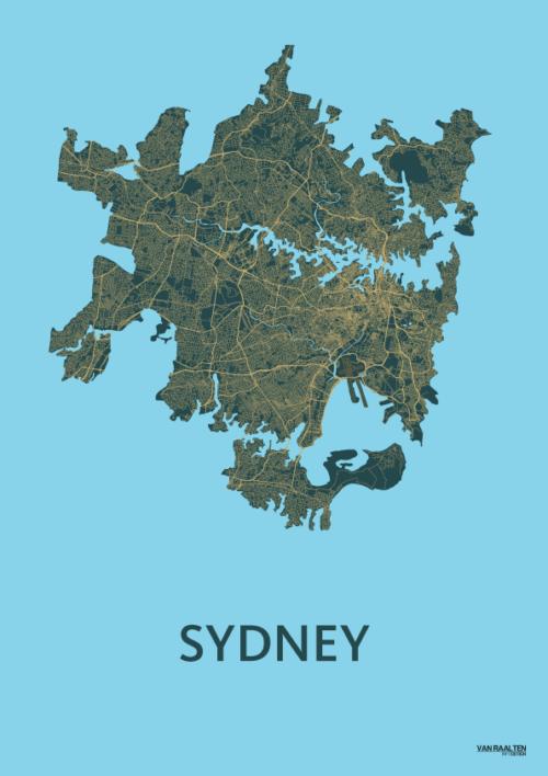 Azure SYD stadskaart poster