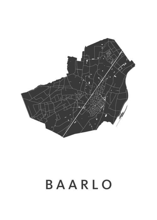 Baarlo White Stadskaart Poster | Kunst in Kaart