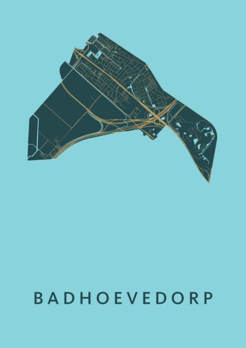 Badhoevedorp Azure Stadskaart Poster | Kunst in Kaart