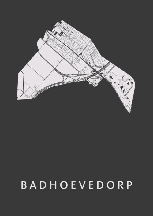Badhoevedorp Black Stadskaart Poster   Kunst in Kaart