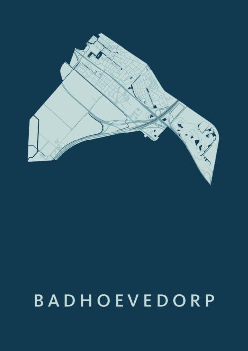 Badhoevedorp Feldgrau Stadskaart Poster | Kunst in Kaart