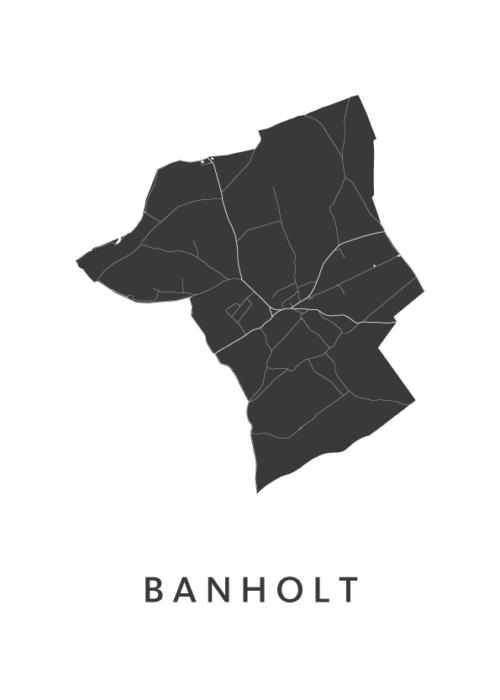 Banholt Stadskaart - Wit | Kunst in Kaart