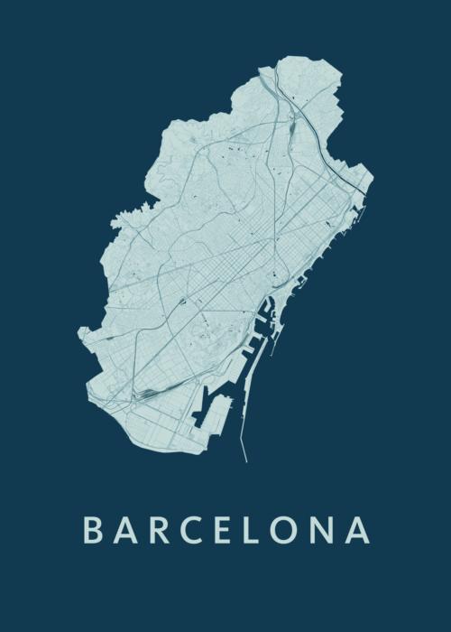 Barcelona Feldgrau City Map