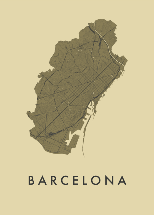 Barcelona GoldenRod Stadskaart Poster | Kunst in Kaart