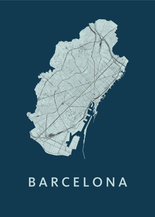 Barcelona Navy Stadskaart Poster | Kunst in Kaart