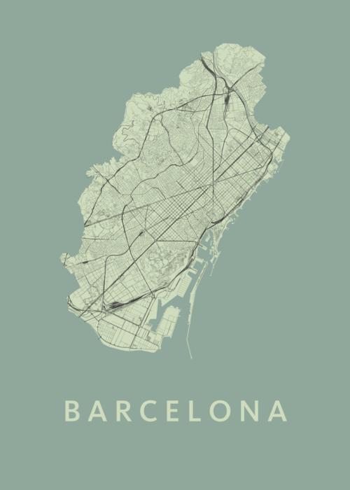 Barcelona Olive Stadskaart Poster | Kunst in Kaart