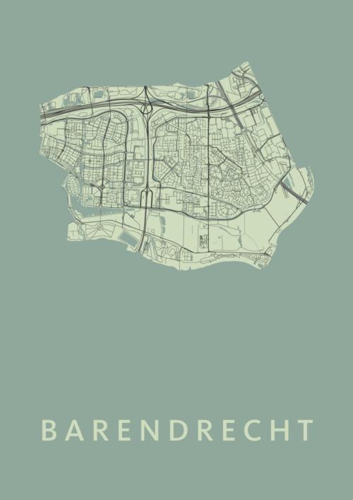 Barendrecht Olive Stadskaart Poster | Kunst in Kaart