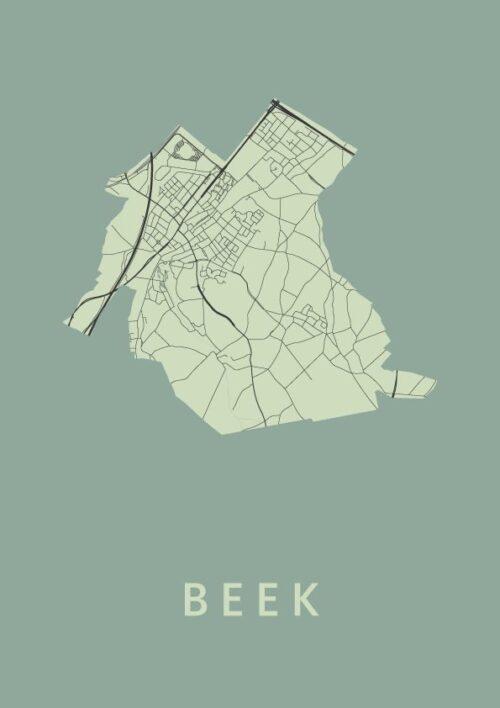 Beek Olive Stadskaart Poster | Kunst in Kaart